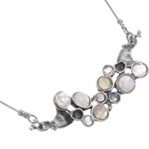 Statement Sterling Silver Necklace with Moonstone and Labradorite
