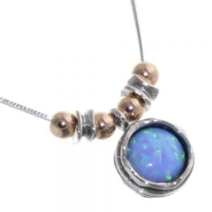 Aviv Sterling Silver Jewellery: Delicate Necklace with Copper Detailing and Round Opal Pendant