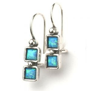 Double Square Blue Opal Sterling Silver Drops