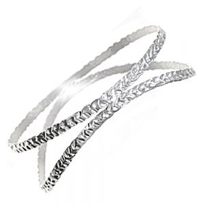 Statement Sterling Silver Jewellery: Curving Open Bangle with Textured Surface