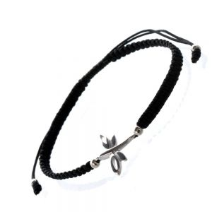 Black Cord and Sterling Silver Dragonfly Bracelet