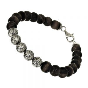 UNISEX Sterling Silver Jewellery: Black Lava Stone and Hammered Silver Beaded Bracelet (22cm) (B167)
