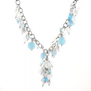 Sale: blue topaz, fresh water pearl and crystal charm necklace