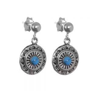 Sterling Silver Jewellery: Pretty Patterened Round Drops with Blue Turquoise Stone (E597)