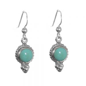 Sterling Silver Jewellery: Decorative Drops with Green Turquoise Resin Stone