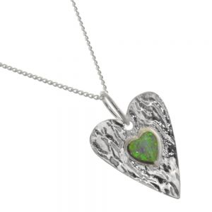 Sterling Silver Jewellery: Hammered 2cm Silver Heart Pendant with White Opal Inner Heart (N123)