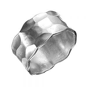 Sterling Silver Jewellery: Chunky Hammered Ring with Slight Matte Finish