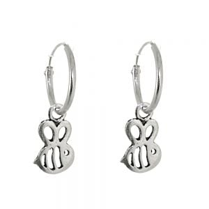 Cute Sterling Silver Jewellery: 12mm Sleeper Hoops with Bumblebees (23mm Drops) (E582)