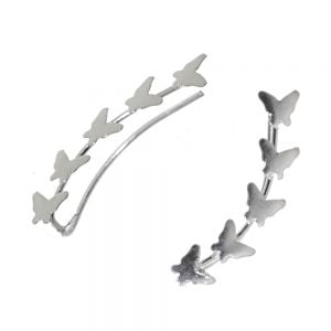Contemporary Sterling Silver Jewellery: Pretty Ear Crawlers with Repeated Butterfly Design