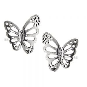 Sterling Silver Jewellery: Pretty Dotty Butterfly Stud Earrings with Cut Out Details