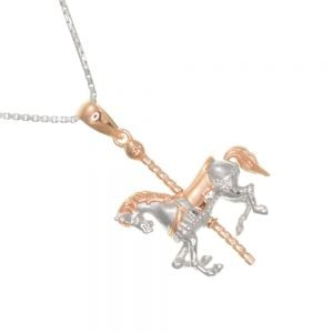 Quirky Sterling Silver Jewellery: Gorgeous Rose Gold and Silver Carousel Horse Pendant (24mm x 20mm) (N5)