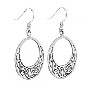 Sterling Silver Jewellery: Round Celtic Detailed Drop Earrings