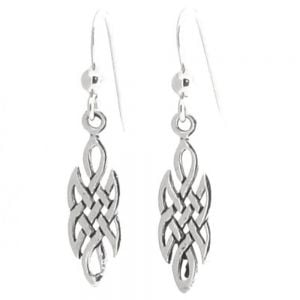 Small Sterling Silver Celtic Weave Drop Earrings