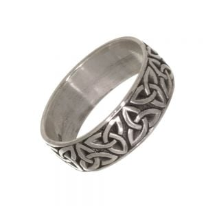 Celtic Sterling Silver Jewellery: Chunky 8mm Oxidised Band with Triquetra Knot Design (SR39)