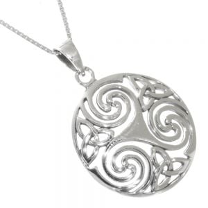 Celtic Sterling Silver Jewellery: Viking Shield-Inspired Round Pendant with Triskelion Design