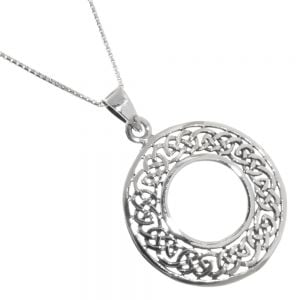 Celtic Sterling Silver Jewellery: Viking Shield-Inspired Round Pendant with Woven Knotwork Design