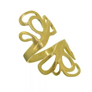 SALE Sterling Silver Gold Plated Adjustable Swirly Ring (Size P-R) (SL54) cheap
