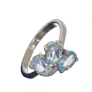 cheap SALE Sterling Silver Size Q Beautiful Blue Topaz Ring (SL104)
