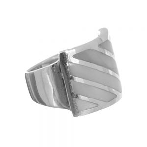 cheap SALE Sterling Silver Size N Chunky Ring with Mother of Pearl (SL58)
