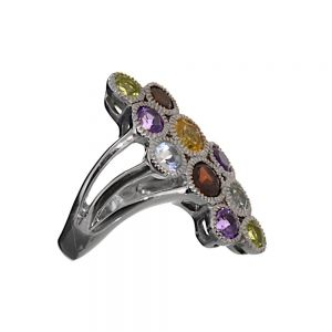 cheap SALE Sterling Silver Statement Ring with Peridot, Topaz, Citrine, Amethyst and Garnet (SL102)