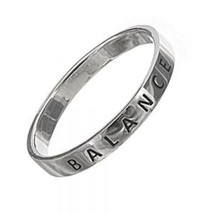 Sterling Silver Jewellery: Affirmations 'Balance' Band Ring