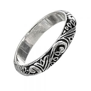 Sterling Silver Jewellery: Beautiful Band Ring with Intricate Celtic Inspired Detail