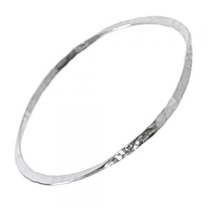 Contemporary Sterling Silver Jewellery: Hammered Bangle with Unusual Twisted Look