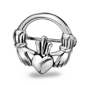 Sterling Silver Jewellery: Small Celtic Claddagh Design Brooch