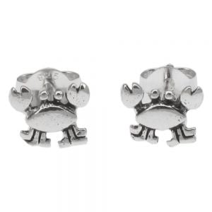 Tiny Sterling Silver Crab Earrings