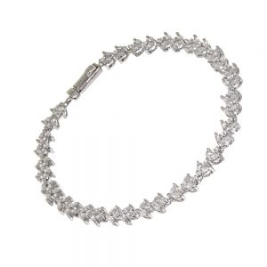 Fabulous Sterling Silver Jewellery: Leaf Motif Sparkly CZ Crystal Bracelet