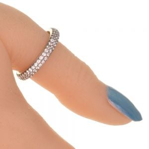Sterling Silver Jewellery: Beautiful 4mm Wide Crystal Band Ring (SR42)