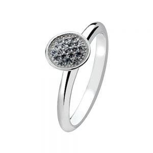 Round Crystal Design Sterling Silver Stacking Ring