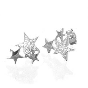 Sterling Silver Jewellery: Triple Star Constellation Stud Earrings with CZ Sparkle (11mm x 11mm) (E655)