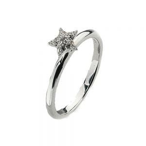 Sterling Silver Stacking Ring With Little Crystal Star