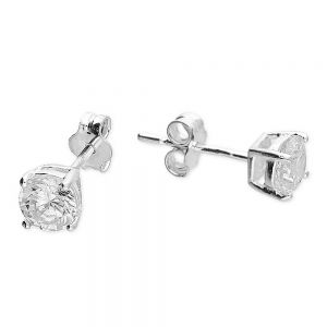 Classic Sterling Silver Jewellery: Beautiful 5mm Square Sparkly CZ Crystal Stud Earrings (E364)