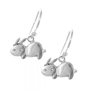 Sterling Silver Jewellery: Cute Silver Rabbit Earrings