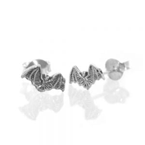 Quirky Sterling Silver Jewellery: Tiny Bat Earrings (E557)