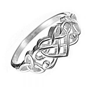 Sterling Silver Jewellery: Silver Ring with Intricate Celtic Loveheart Design