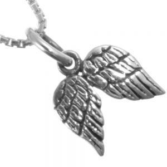 Sterling Silver Jewellery: Small oxidised Angel Wings Pendant (N266)
