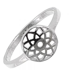 Sterling Silver Jewellery: Band Ring with Abstract Geometric Star Design