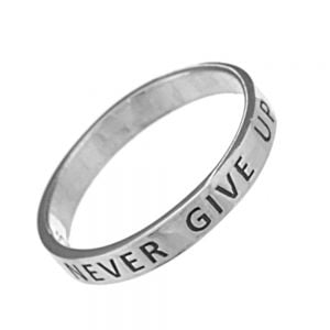 Sterling Silver Jewellery: Affirmation 'Never Give Up' Band Ring