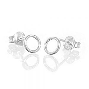 Simple Sterling Silver Jewellery: Small Circle Outline Stud Earrings