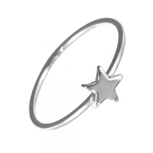 This simple design features a single simple star design on a thin band. Ideal for stacking with others or for wearing alone for a more understated minimalist look.