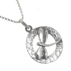 Beautiful Sterling Silver Jewellery: Simple Dragonfly Pendant with Hammered Oval Background