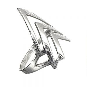 Sterling Silver Jewellery: Unusual Statement Ring with Abstract Arrow and Geometric Design