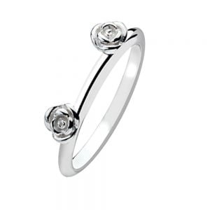 Double Rose Sterling Silver Stacking Ring
