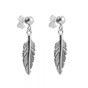 Sterling Silver Jewellery: Beautiful Oxidised Feather Drop Earrings