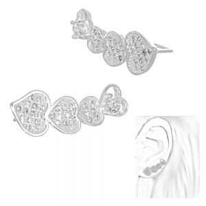 Sterling Silver Jewellery: Ear Crawlers with Large Crystal Heart Motif (8.5mm x 23mm) (E6)