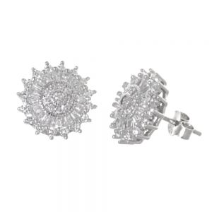 Dazzling Sterling Silver Jewellery: Sparkly 13mm Circle CZ Crustal Stud Earrings (E616)