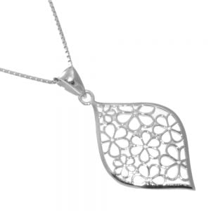 Sterling Silver Jewellery: Large Filigree Style Floral Pendant